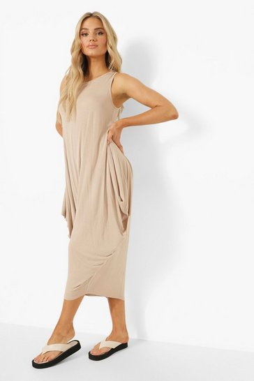 Stone beige Racer Back Ruched Maxi Dress