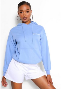 Blue Woman Signature Oversized Hoodie