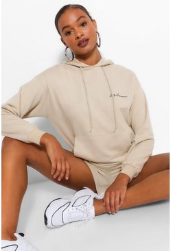 Sand beige Woman Signature Oversized Hoody