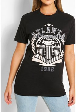 Black Atlanta Collegiate T-Shirt