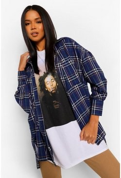 Navy Oversized Dipped Hem Checked Shirt