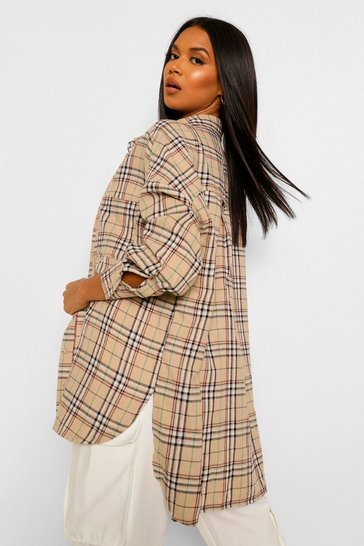 Stone beige Oversized Dipped Hem Checked Shirt