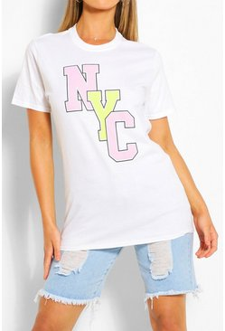 Wit white NYC Collegiate T-shirt