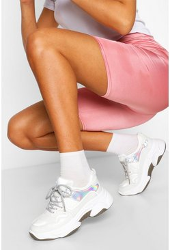 White Lace Up Chunky Trainers
