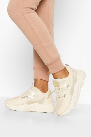 Ecru white Chunky Platform Lace Up Trainers