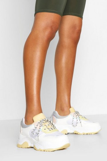 Lemon yellow Pastel Colour Block Chunky Trainers