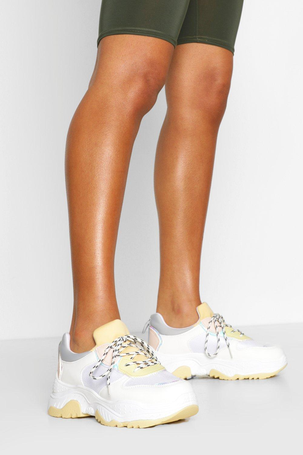 SHOES Pastel Colour Block Chunky Trainers