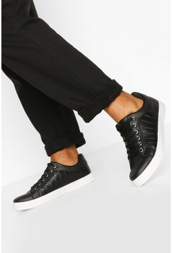 Black Croc Basic Flat Sneakers