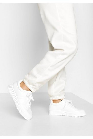 White Ribbed Sole Lace Up Trainers
