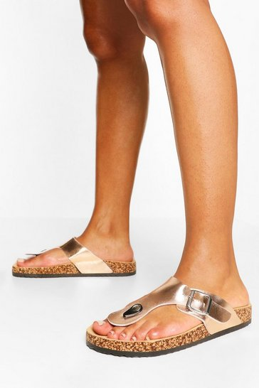 Rose gold Toe Post Footbed Sandal