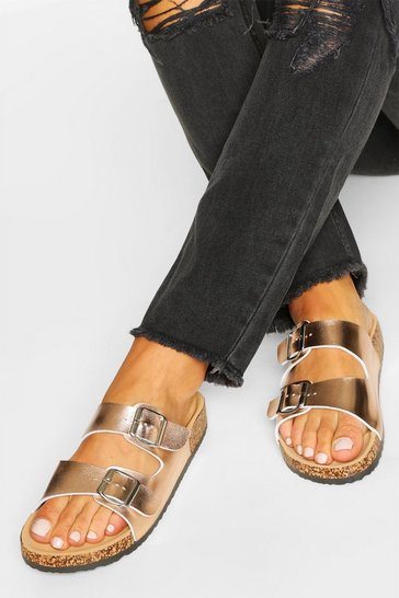 Rose gold metallic Double Buckle Footbed Slider