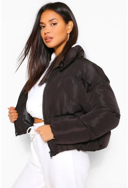 Black Funnel Neck Wrap Puffer Jacket