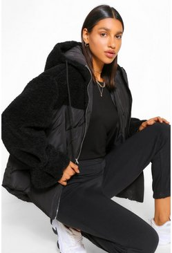 Black Teddy Fabric Mix Puffer Jacket