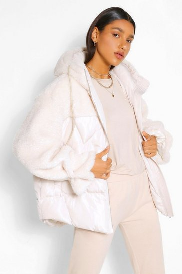 Cream white Teddy Fabric Mix Puffer Jacket