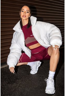 White Funnel Neck Puffer Jacket