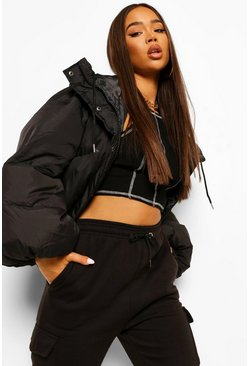 Black Oversized Sleeve Hooded Puffer Jacket