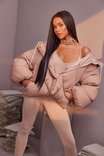 Nude Oversized Sleeve Hooded Puffer Jacket
