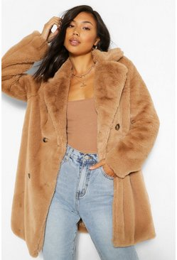 Camel beige Double Breasted Faux Fur Coat