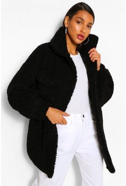 Black Oversized Belted Teddy Faux Fur Shacket