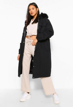 Black Longline Faux Fur Trim Parka