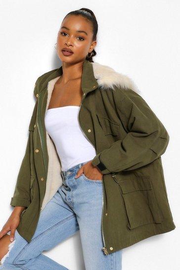 khaki green oversized puffa parka boohoo fur hood army essex Celebrity Sz 8-10