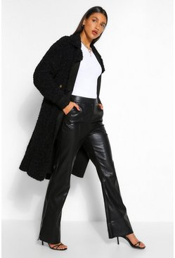 Black Bonded Teddy Faux Fur Trench