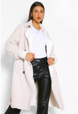 Cream white Bonded Teddy Faux Fur Trench