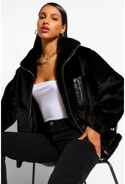 Black Pocket Detail Faux Fur Bomber Jacket