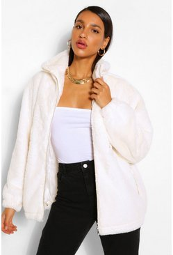 Cream white Pocket Detail Faux Fur Bomber Jacket