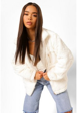 Mink beige Pocket Detail Faux Fur Bomber Jacket