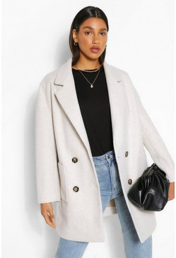 Cream white Oversized Double Breasted Wool Look Coat