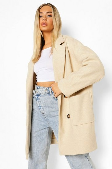 Stone beige Oversized Double Breasted Wool Look Coat