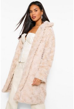 Stone beige Textured Faux Fur Coat