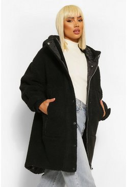 Black Oversized Teddy Faux Fur Padded Parka