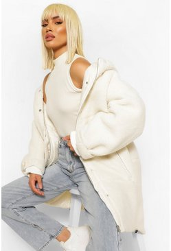 Cream white Oversized Teddy Faux Fur Padded Parka
