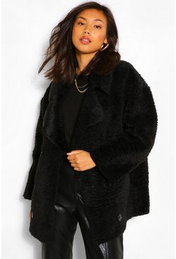 Black Suedette Lined Double Breasted Teddy Faux Fur Coat