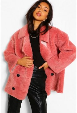 Rose Suedette Lined Double Breasted Teddy Faux Fur Coat