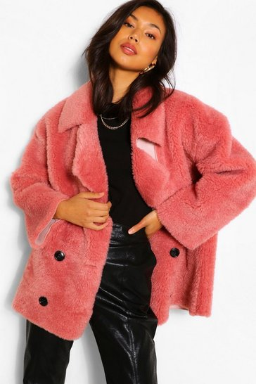 Rose pink Suedette Lined Double Breasted Teddy Faux Fur Coat