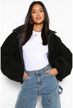 Black Crop Teddy Faux Fur Bomber Jacket