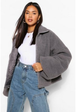 Grey Crop Teddy Faux Fur Bomber Jacket