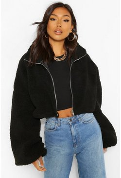 Black Teddy Faux Fur Oversized Bomber Jacket