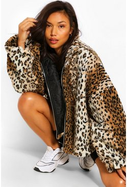 Multi Leopard Teddy Faux Fur Oversized Bomber Jacket