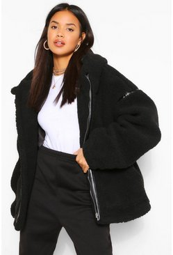 Black Faux Leather Trim Belted Teddy Faux Fur Coat