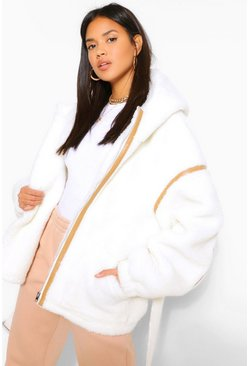 Cream white Faux Leather Trim Belted Teddy Faux Fur Coat