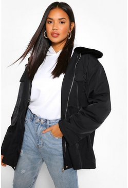Black Faux Fur Collar Lightweight Parka
