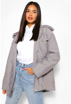 Charcoal Faux Fur Collar Lightweight Parka
