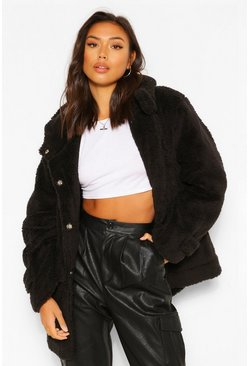 Black Oversized Teddy Faux Fur Hooded Parka