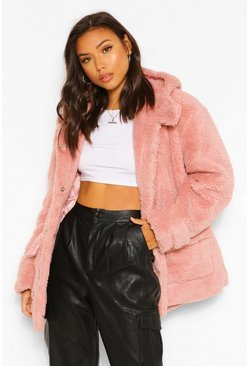 Blush pink Oversized Teddy Faux Fur Hooded Parka