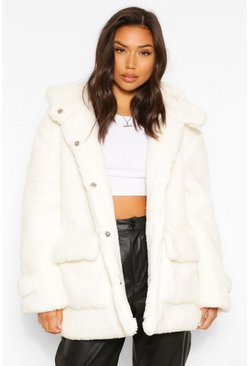 Cream white Oversized Teddy Faux Fur Hooded Parka