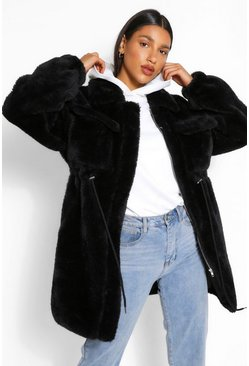 Black Longline Teddy Faux Fur Jacket